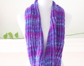 Purple Pink Blue mix color Infinity Scarf, Circle Scarf