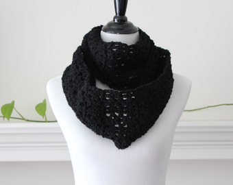 Crocheted Black infinity Scarf Neckwarmer