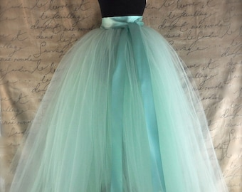 Full length sewn unlined tulle skirt. Weddings and formal wear for girls or women. Over 30 colors available.