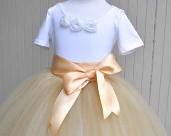 Champagne and pale gold lined Flower Girl full length tutu skirt with satin lining and ribbon sash waist. Sewn, no tied knots.