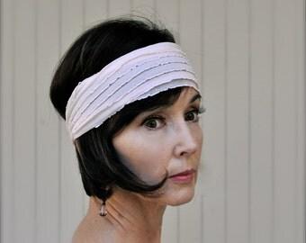 Ruffle headband in  shell pink, grey, zebra, purple, mocha, black,  teal, ivory, yellow or blue stretch headband. Boho chic headband