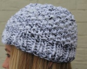Gray and White Knit Chunky Hat, Chunky Knit Beanie Hat, White Chunky Knit Hat, Warm Knit Hat, Big Knit Gray Hat, Knit Toque, Knit Cap White