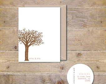 Wedding Thank You Cards, Outdoor Wedding, Carved Initials, Tree Wedding Thank You Cards. Bridal Shower Thank You Cards, Trees