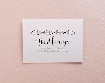 Geometric Calligraphy Address Stamp