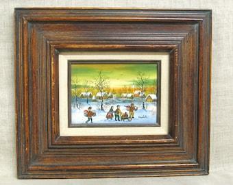 Vintage Folk Art Landscape Painting, Winter Scene, Village, Kowalski, Hungarian Artist, Original Fine Art, Primitive, Naive, Rustic Decor