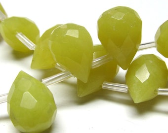 Agate Beads 12 x 9mm Faceted Bitter Yellow Full Briolette Teardrops - 8 Pieces