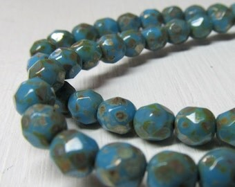 Czech Glass Beads 6mm Opaque Turquoise Blue w/ Golden Accents Faceted Rounds - 30 Pieces
