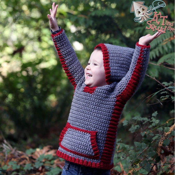 Crochet Patterns For Childrens Vests : Crochet pattern crochet childrens sweater boys hoodie ...