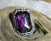 Vintage brooch circa the 1930's with amethyst glass and marcasites for repair
