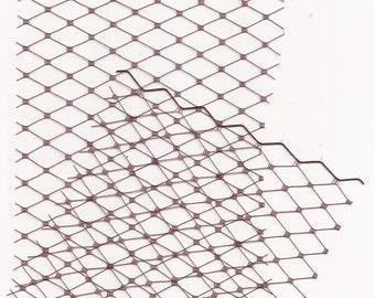 Burgundy Birdcage Veil Blusher - rhinestone dotted Swarovski