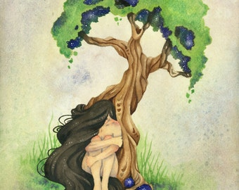 Fantasy Art Watercolor Print - Dryad - whimsical. tree. girl. earth. nature. fine art.