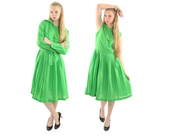 Vintage 60s 70s Dress Set Jacket Full Pleated Skirt Sleeveless Lime Green Dress Fall Spring Fashion Vintage 1960s 1970s Medium M