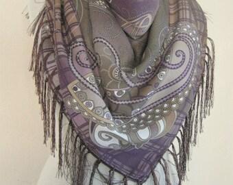 Tasseled scarf // Turkish scarf // Wool Scarf // Thick winter scarf