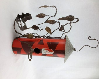 Rustic Birdhouse With Barbed Wire Limbs and Leaves and Cookie Cutter Squirrel