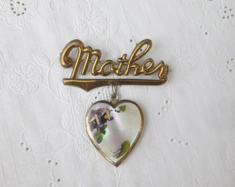 "Lovely Vintage 1950's ""MOTHER"" Heart Shaped Locket Brooch - Mother Of Pearl & Gold Pin"