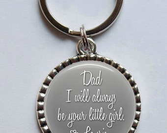 Father of the Bride Keychain, I Will Always Be Your Little Girl, Gift for Dad, Father's Day, Personalized Key Ring