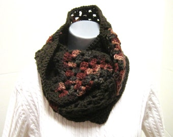 Crochet Cowl in Browns, Granny Square Infinity Scarf, Multicolored Cowl by Charlene