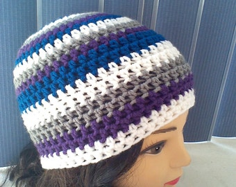 Crochet Striped Hat, Beanie Hat, Womans Accessories, Mens Accessories, Winter Accessories, Fall Hat, Gray, Purple, White and Teal