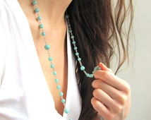 Meditation Beads, Yoga Necklace, Rosary Style Necklace in Green Amazonite Gemstones & Sterling Silver or 14k Gold Filled