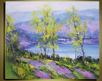 """Original Modern  Oil Painting Palette Knife landscape Fine art on Canvas Birch tree color of Spring Ready to Hang by Qujun 20"""" by 24"""""""
