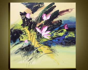 """Original Abstract Modern  Palette Knife Floral Fine art Oil Painting on Canvas Lovely lotus Ready to Hang by Qujun 28"""" by 28"""""""