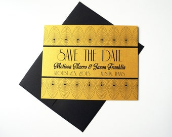 Save the Date: Old Hollywood, Art Deco Metallic Gold Card