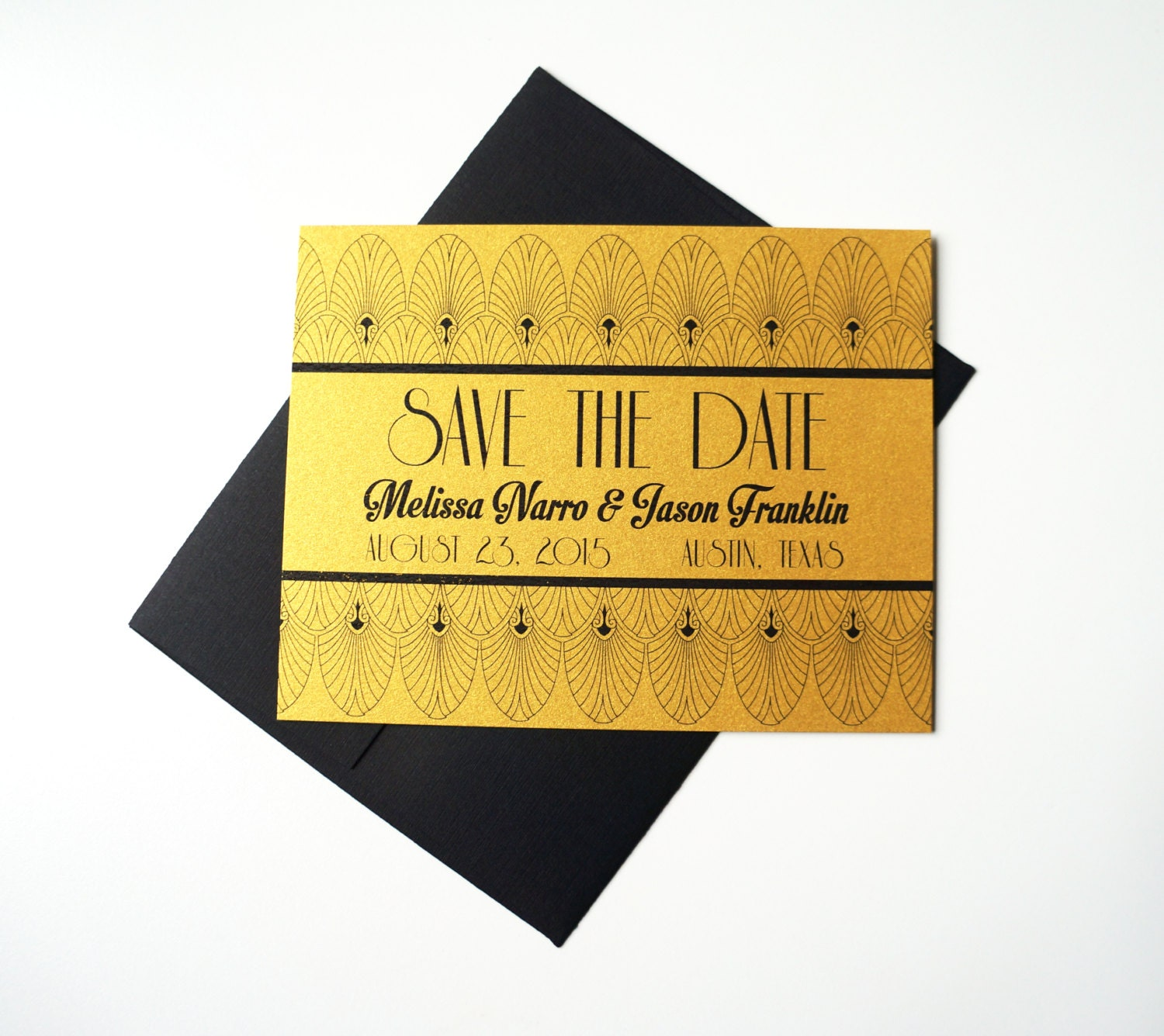save the date old hollywood art deco metallic gold card. Black Bedroom Furniture Sets. Home Design Ideas