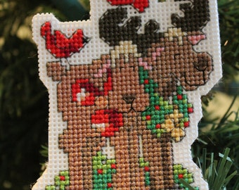 Moose Cross Stitch Handmade Ornament