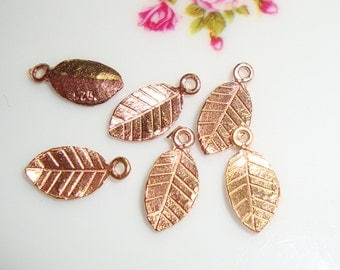 18k Rose Gold over 925 Sterling Silver Tiny Leaf Pendant Charm,6 pcs, Handmade Findings, Great for Kate's Earring
