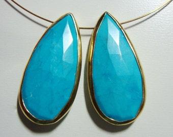 Turquoise Faceted Pear Briolette Vermeil Sterling Silver Bezel Rim Connector Link Pendant, 1 pc - n25-1
