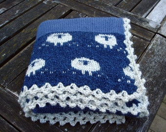 Knitted Lambswool baby blanket Counting Sheep/ baby boy/ baby present
