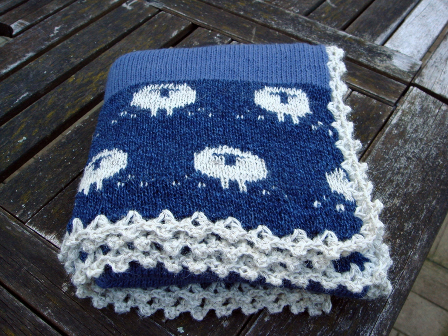 Knitting Pattern For Sheep Blanket : Knitted Lambswool baby blanket Counting Sheep/ by ...
