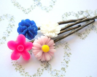 Flower Girl Gift Flower Accessories For Hair Gifts For Kid Bobby Pin Flower Pink Bobby Pin Gift Set Hair Pins Children Floral Bobby Pin