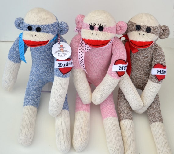 Traditional Sock Monkey Doll in Pink,  Blue, Brown, Choice of Sock Monkey Size
