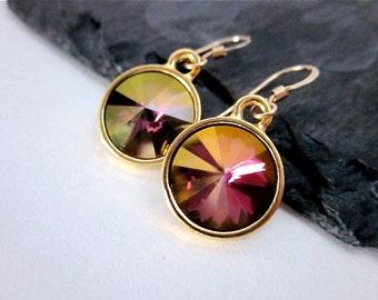 Purple Gold Drop Earrings -- Gold & Purple Crystal Earrings -- Lilac Purple Crystal Earrings -- Lilac Shadow Swarovski Earrings