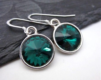 Emerald Crystal Jewelry, Silver & Emerald Green Earrings, Round Green Dangle Jewelry, Emerald Crystal Earrings, Dark Green Drop Earrings