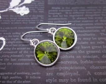 Olive Green Earrings -- Olive & Silver Earrings -- Olive Crystal Earrings -- Olive Swarovski Earrings -- Olivine Crystal Earrings