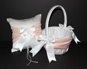 Peach & Ivory or White Wedding Ring Bearer Pillow Flower Girl Basket Set 2 Piece