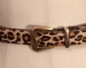 Vintage 1980s Sexy Cheetah Leopard Hair Calf Textured Belt with Gold Tone Accents