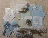 50% OFF! Studio Destash ~ Winter Frost Inspiration Kit, Collage, Mixed Media, Altered Art, Art Journaling, Scrapbooking, Card Making, Etc.