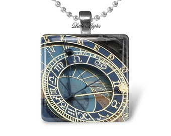 Astronomical Clock necklace, Glass Tile Pendant, Prague clock, steampunk necklace, astronomy gifts, science gifts, wearable art