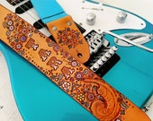 Custom Leather Guitar Strap - Acoustic or Electric - Feminine Personalized Floral Design - Hand Tooled and Painted