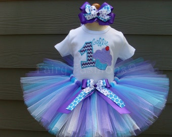 Custom Tutus...FLUFFY CUPCAKE  TUTU set, size 3,6,9,12,18,24 months and 2T,3T,4T,5T,6,costume, first birthday, dress up, princess tutu