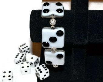 Fused Glass Bunco Dice Bracelet, Dice Bracelet, Casino Night, Las Vegas Jewelry, White with Black