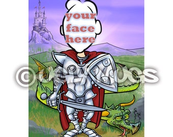 Custom Dragon Slayer Prince Knight in Shining Armor Caricature from Photos