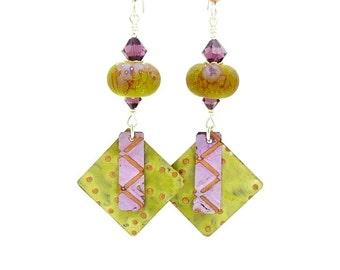 Lime & Purple Mixed Metal Earrings, Metalwork Earrings, Copper Earrings, Lampwork Earrings, Glass Earrings, Boho Earrings, Glass and Metal