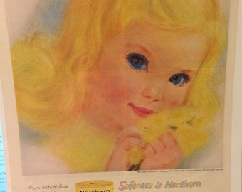 Circa 1960 northern tissue little girls print ad page. 13 x 10