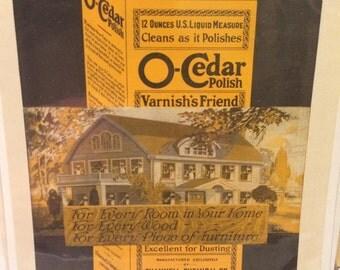O-Cedar print ad circa 1919 7 1/2 x 11.