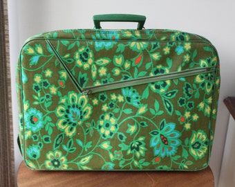 Vintage Green Floral Suitcase, Briefcase, Luggage, 60s or 70s