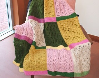 Beautiful hand knit afghan in soft and warm 100 % Acrylic in beautiful colors and patterns